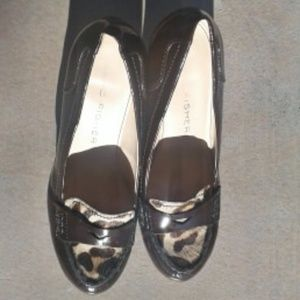 Marc Fisher Patent & Calf Hair Stack Heel Pumps  8